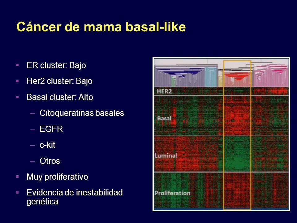 Cáncer de mama basal-like ER cluster: Bajo Her2 cluster: Bajo Basal cluster: Alto –Citoqueratinas basales –EGFR –c-kit –Otros Muy proliferativo Eviden