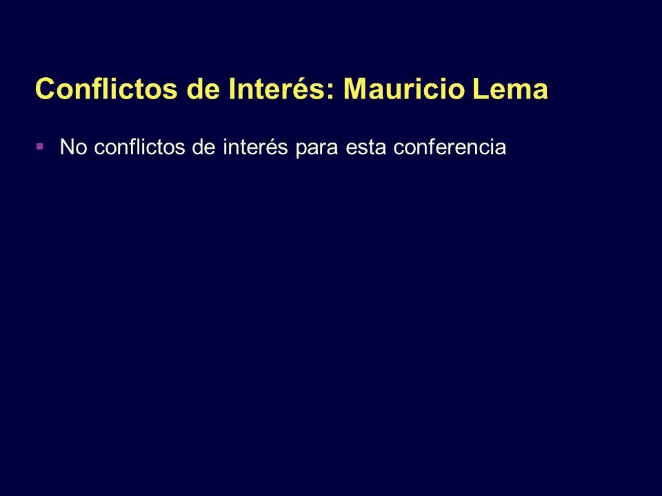 Conflictos de Interés: Mauricio Lema No conflictos de interés para esta conferencia