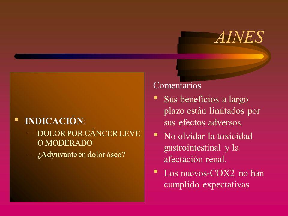 AINES CELOCOXIB (Celebrex ® ) –AINE, inhibidor COX-2 –Mismas INDICACIONES que resto –PAUTA: 1 cápsula al día –TOXICIDAD: no alteraciones gastrointestinales, no afectación renal, no interfiere agregación plaquet.