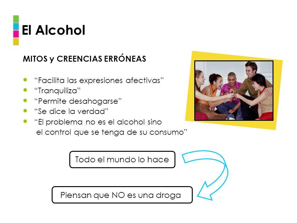 El Alcohol MITOS y CREENCIAS ERRÓNEAS Facilita las expresiones afectivas Tranquiliza Permite desahogarse Se dice la verdad El problema no es el alcoho