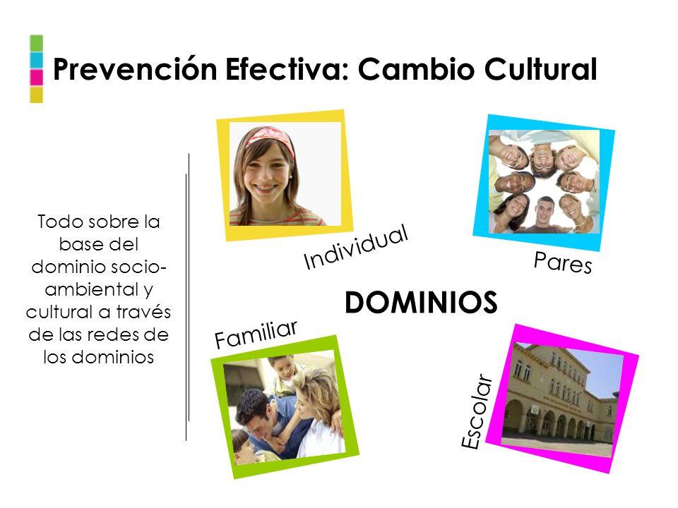 Individual Pares Familiar Escolar DOMINIOS Prevención Efectiva: Cambio Cultural Todo sobre la base del dominio socio- ambiental y cultural a través de