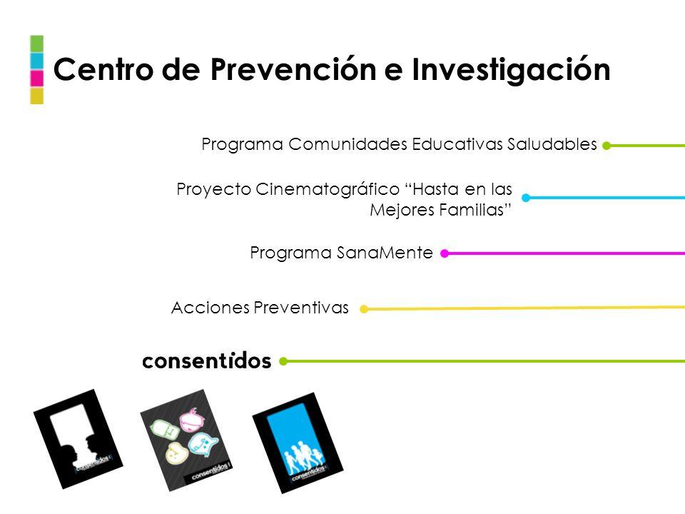 Centro de Prevención e Investigación Programa Comunidades Educativas Saludables Acciones Preventivas Programa SanaMente Proyecto Cinematográfico Hasta