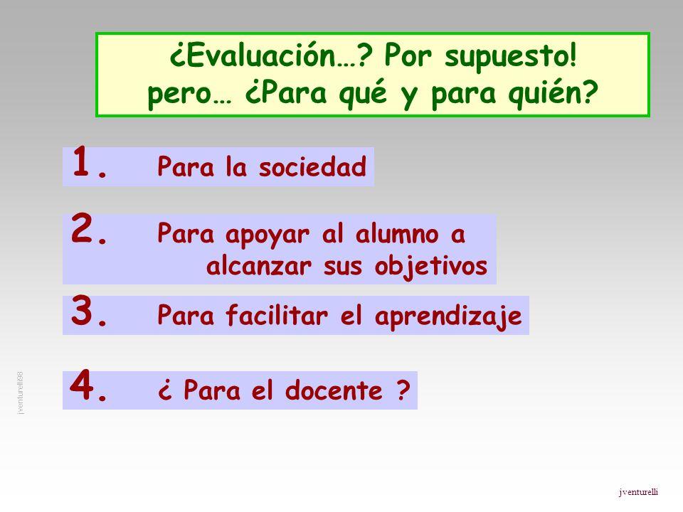 ¿Evaluación…? Por supuesto! pero… ¿Para qué y para quién? 1. Para la sociedad 2. Para apoyar al alumno a alcanzar sus objetivos 3. Para facilitar el a