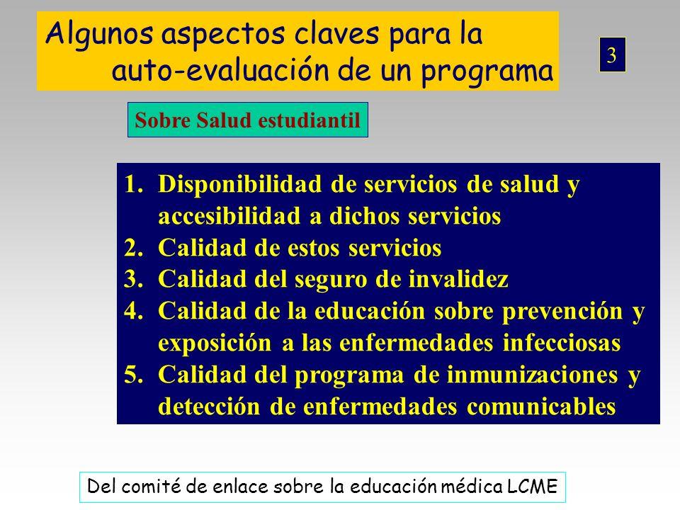 Algunos aspectos claves para la auto-evaluación de un programa Sobre Salud estudiantil 1.Disponibilidad de servicios de salud y accesibilidad a dichos