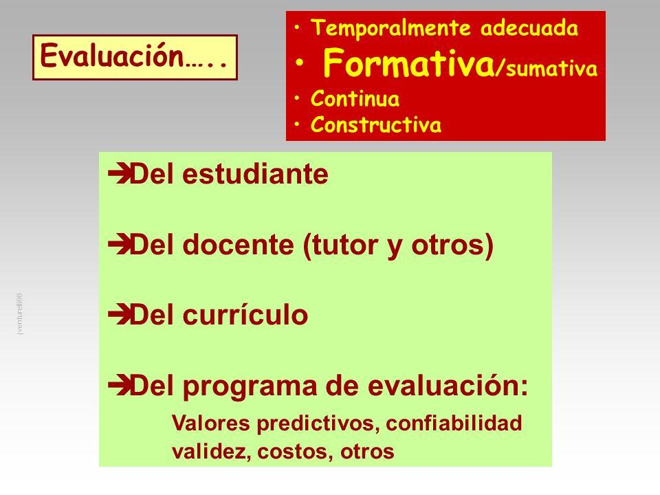 Evaluación….. Del estudiante Del docente (tutor y otros) Del currículo Del programa de evaluación: Valores predictivos, confiabilidad validez, costos,