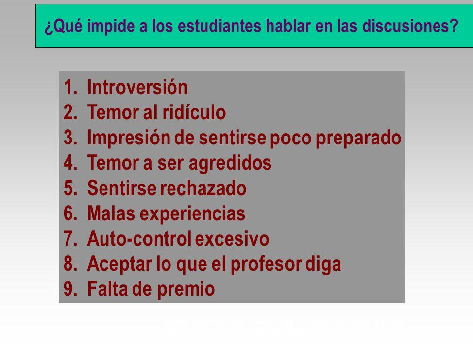 Qué impide a los estudiantes hablar en las discusiones? ? 1.Introversión 2.Temor al ridículo 3.Impresión de sentirse poco preparado 4.Temor a ser agre