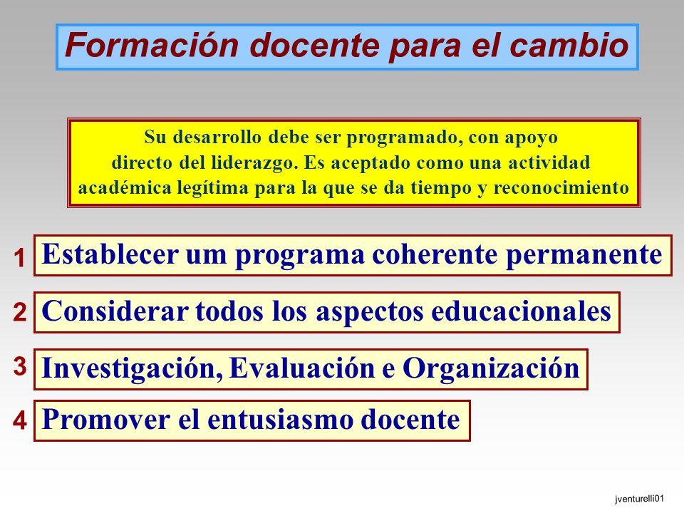 Formación docente para el cambio Establecer um programa coherente permanente Considerar todos los aspectos educacionales Investigación, Evaluación e O