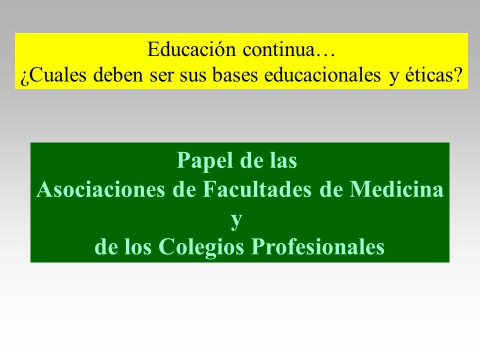 Educación continua… ¿Cuales deben ser sus bases educacionales y éticas? Papel de las Asociaciones de Facultades de Medicina y de los Colegios Profesio