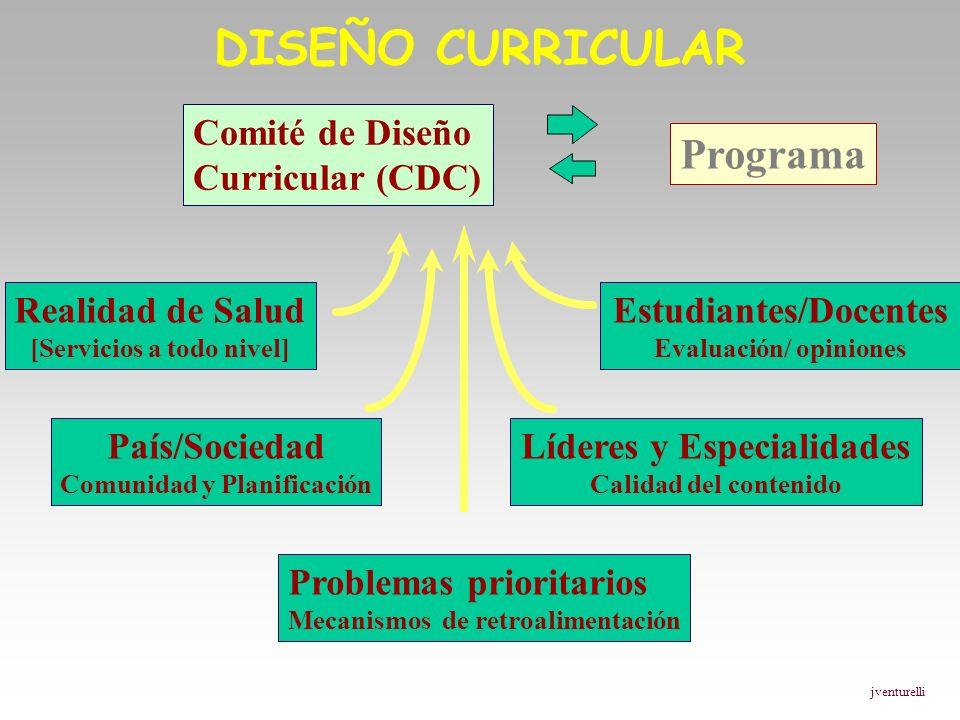 DISEÑO CURRICULAR Comité de Diseño Curricular (CDC) Realidad de Salud [Servicios a todo nivel] País/Sociedad Comunidad y Planificación Problemas prior