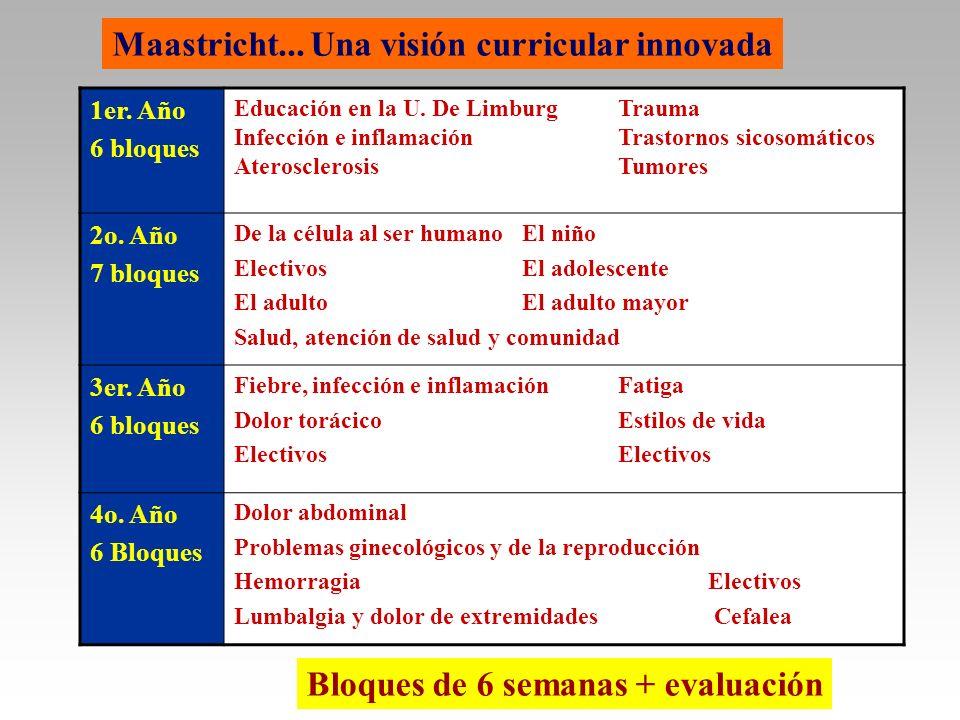 Maastricht... Una visión curricular innovada 1er. Año 6 bloques Educación en la U. De LimburgTrauma Infección e inflamaciónTrastornos sicosomáticos At
