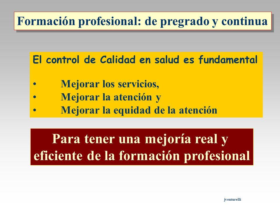 Formación profesional: de pregrado y continua El control de Calidad en salud es fundamental Mejorar los servicios, Mejorar la atención y Mejorar la eq