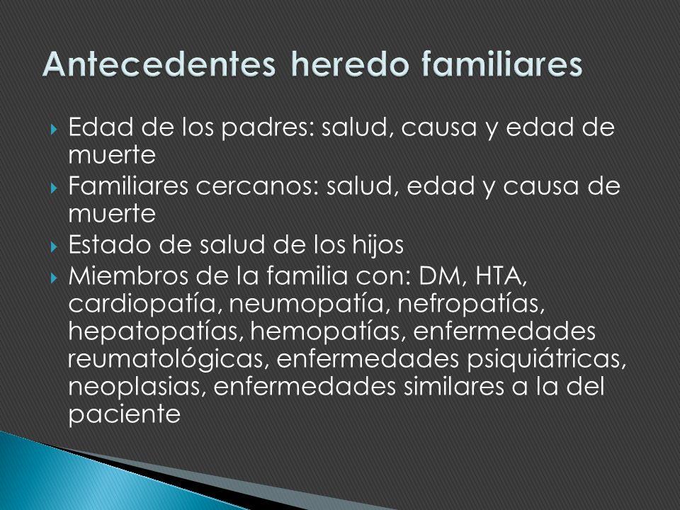 Edad de los padres: salud, causa y edad de muerte Familiares cercanos: salud, edad y causa de muerte Estado de salud de los hijos Miembros de la famil
