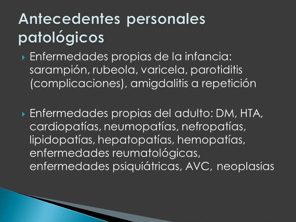 Enfermedades propias de la infancia: sarampión, rubeola, varicela, parotiditis (complicaciones), amigdalitis a repetición Enfermedades propias del adu