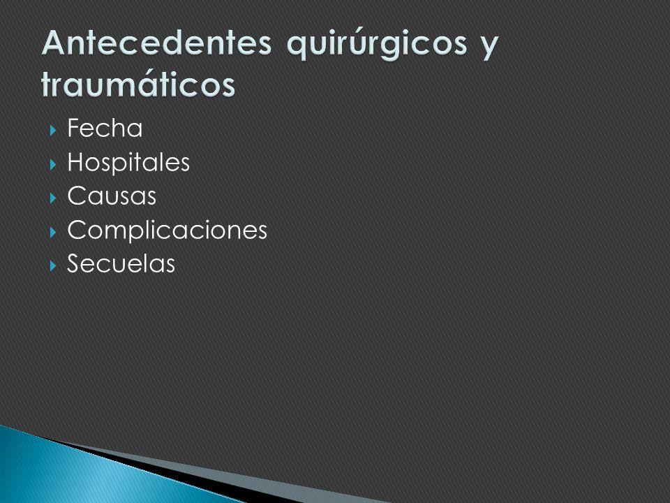 Fecha Hospitales Causas Complicaciones Secuelas