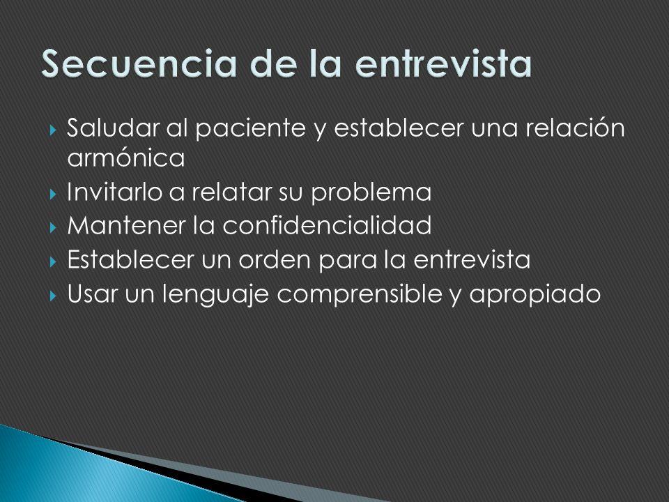 Saludar al paciente y establecer una relación armónica Invitarlo a relatar su problema Mantener la confidencialidad Establecer un orden para la entrev