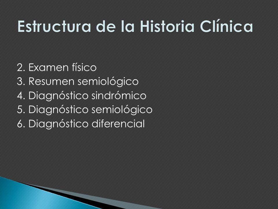 2. Examen físico 3. Resumen semiológico 4. Diagnóstico sindrómico 5. Diagnóstico semiológico 6. Diagnóstico diferencial
