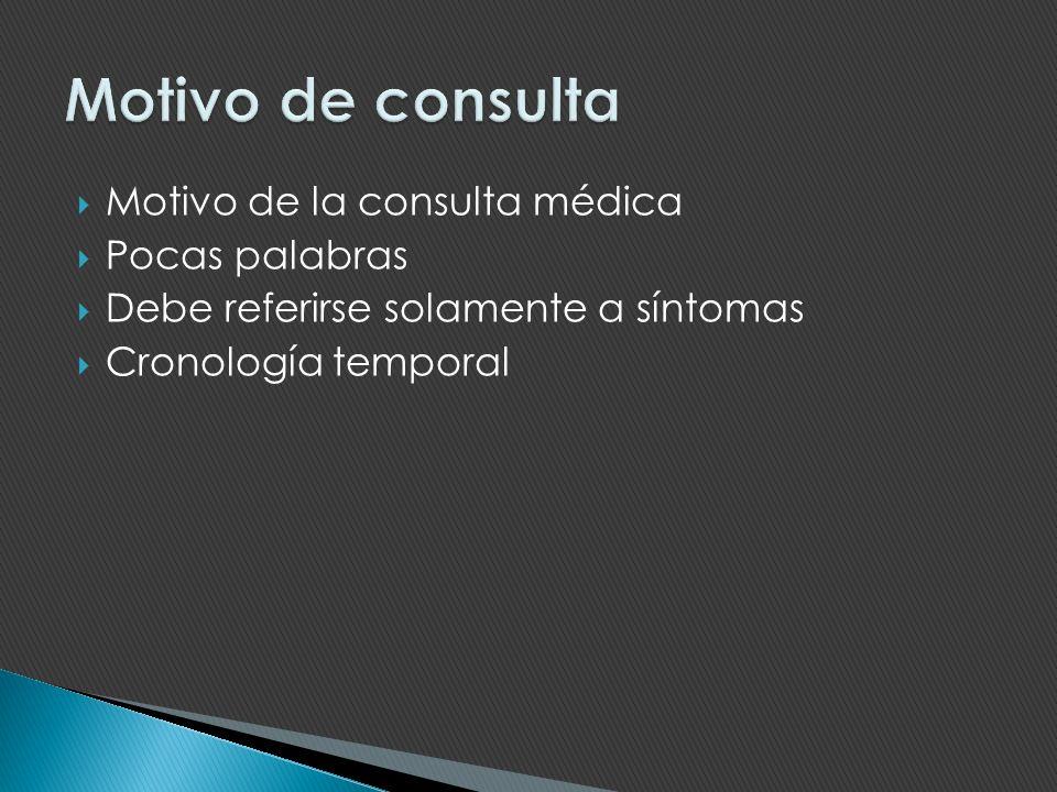 Motivo de la consulta médica Pocas palabras Debe referirse solamente a síntomas Cronología temporal