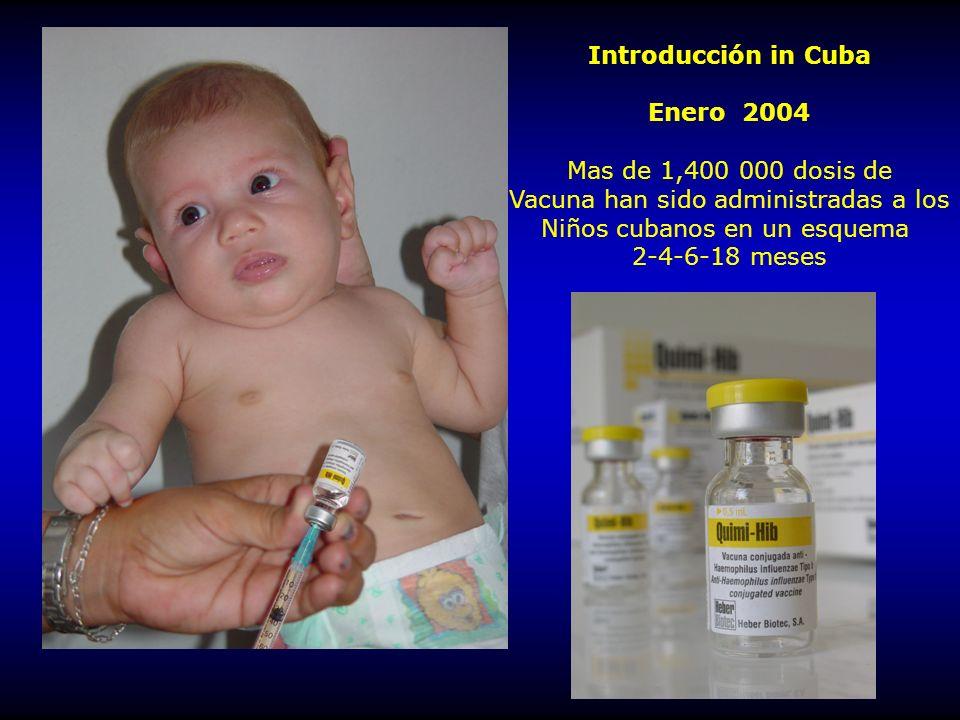 Introducción in Cuba Enero 2004 Mas de 1,400 000 dosis de Vacuna han sido administradas a los Niños cubanos en un esquema 2-4-6-18 meses