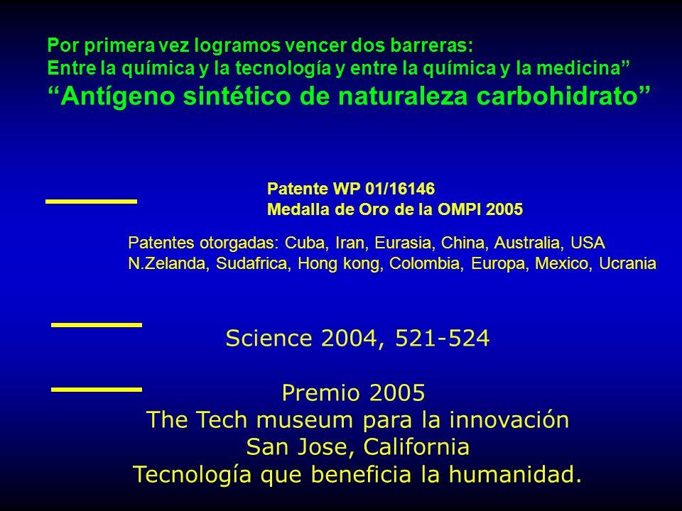 Patentes otorgadas: Cuba, Iran, Eurasia, China, Australia, USA N.Zelanda, Sudafrica, Hong kong, Colombia, Europa, Mexico, Ucrania Patente WP 01/16146 Medalla de Oro de la OMPI 2005 Science 2004, 521-524 Premio 2005 The Tech museum para la innovación San Jose, California Tecnología que beneficia la humanidad.
