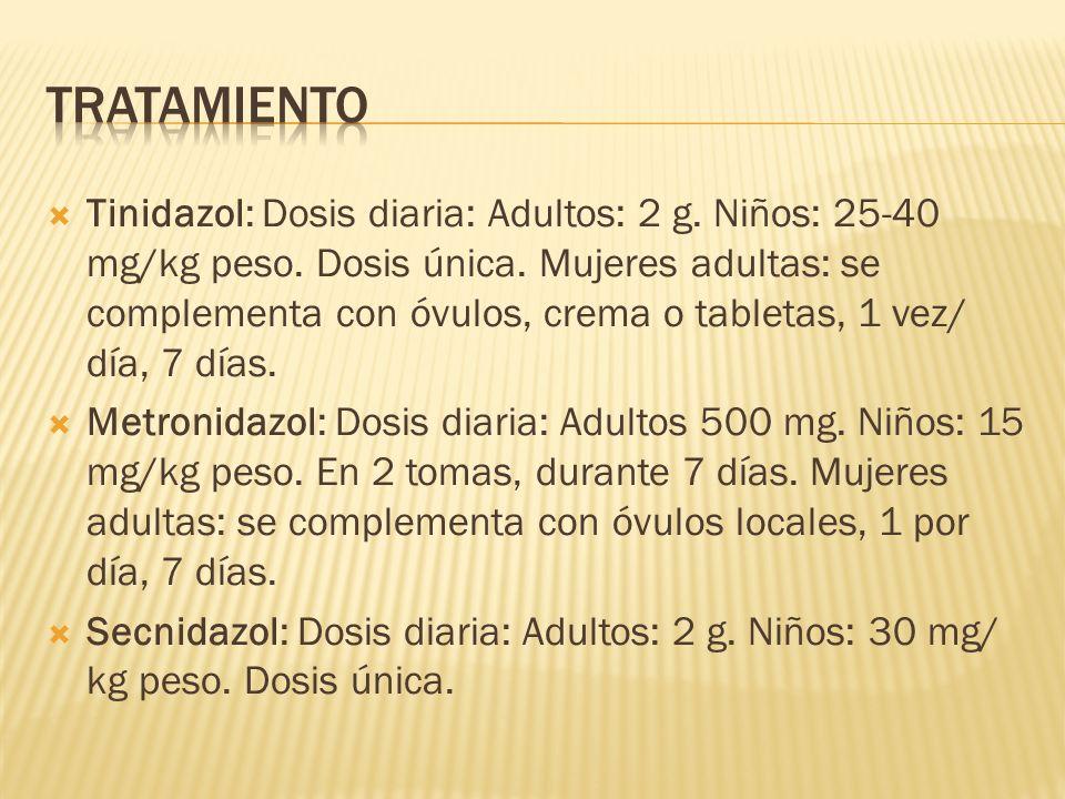 Tinidazol: Dosis diaria: Adultos: 2 g. Niños: 25-40 mg/kg peso. Dosis única. Mujeres adultas: se complementa con óvulos, crema o tabletas, 1 vez/ día,