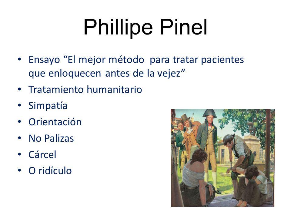 Phillipe Pinel Ensayo El mejor método para tratar pacientes que enloquecen antes de la vejez Tratamiento humanitario Simpatía Orientación No Palizas Cárcel O ridículo
