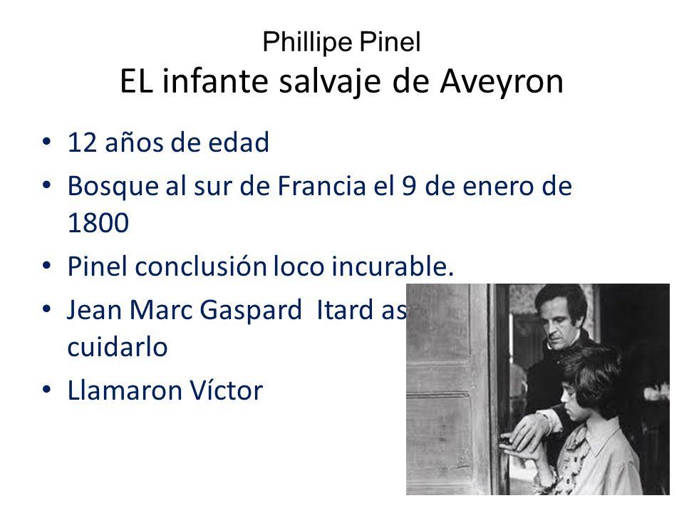 Phillipe Pinel EL infante salvaje de Aveyron 12 años de edad Bosque al sur de Francia el 9 de enero de 1800 Pinel conclusión loco incurable.