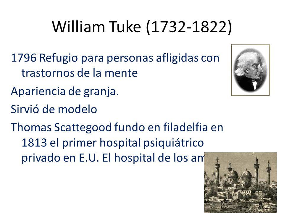 William Tuke (1732-1822) 1796 Refugio para personas afligidas con trastornos de la mente Apariencia de granja. Sirvió de modelo Thomas Scattegood fund