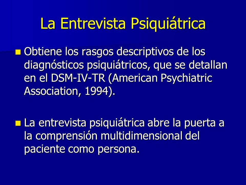 La Entrevista Psiquiátrica Obtiene los rasgos descriptivos de los diagnósticos psiquiátricos, que se detallan en el DSM-IV-TR (American Psychiatric Association, 1994).