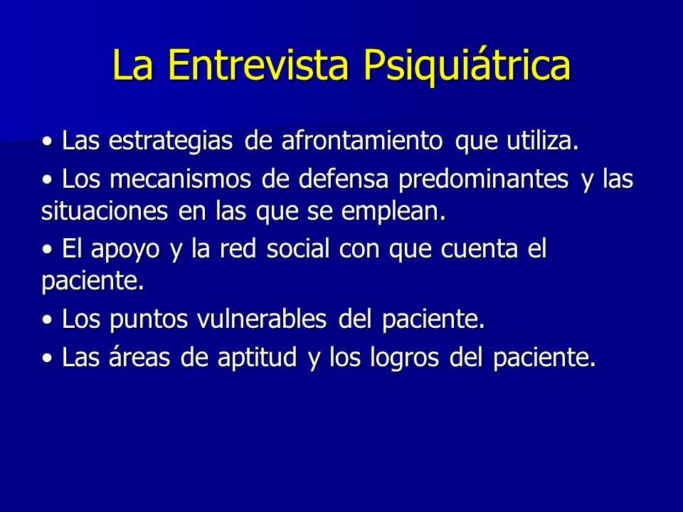 La Entrevista Psiquiátrica Las estrategias de afrontamiento que utiliza.