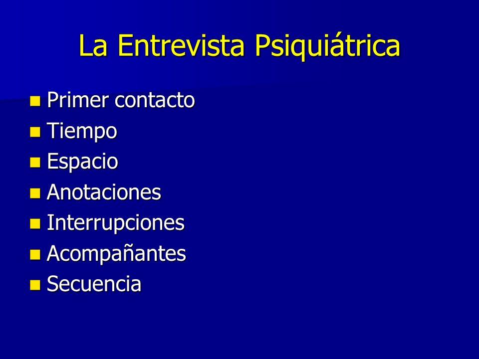 La Entrevista Psiquiátrica Primer contacto Primer contacto Tiempo Tiempo Espacio Espacio Anotaciones Anotaciones Interrupciones Interrupciones Acompañantes Acompañantes Secuencia Secuencia