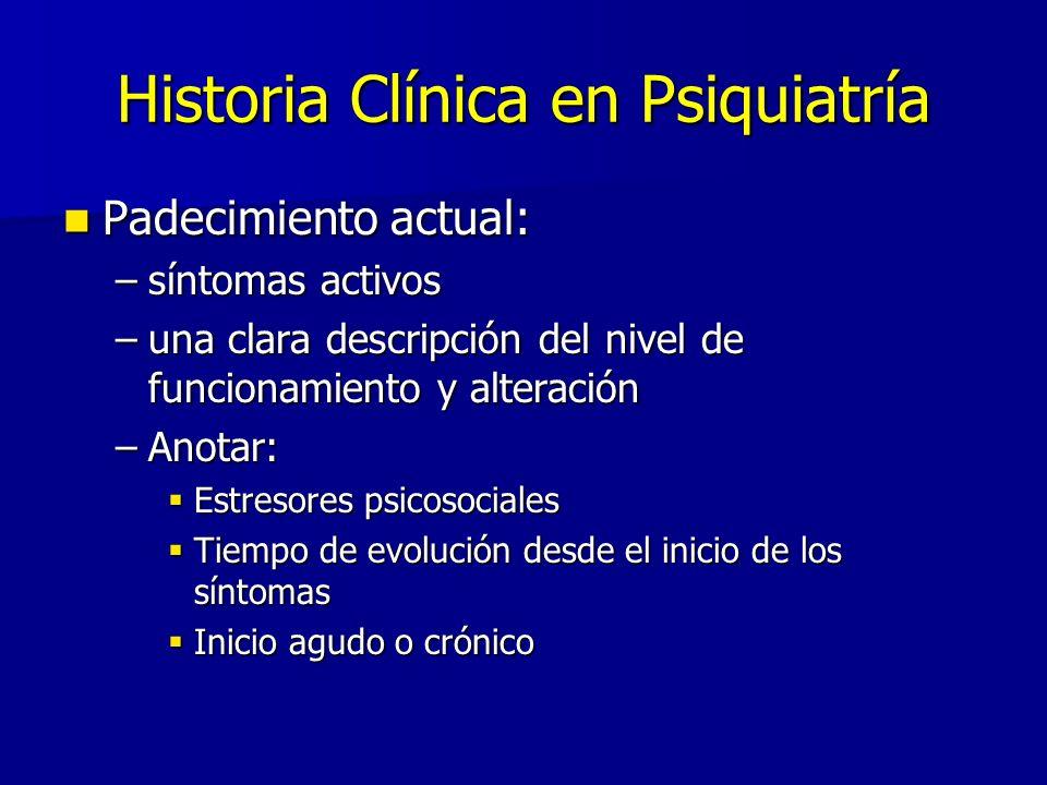 Historia Clínica en Psiquiatría Padecimiento actual: Padecimiento actual: –síntomas activos –una clara descripción del nivel de funcionamiento y alter