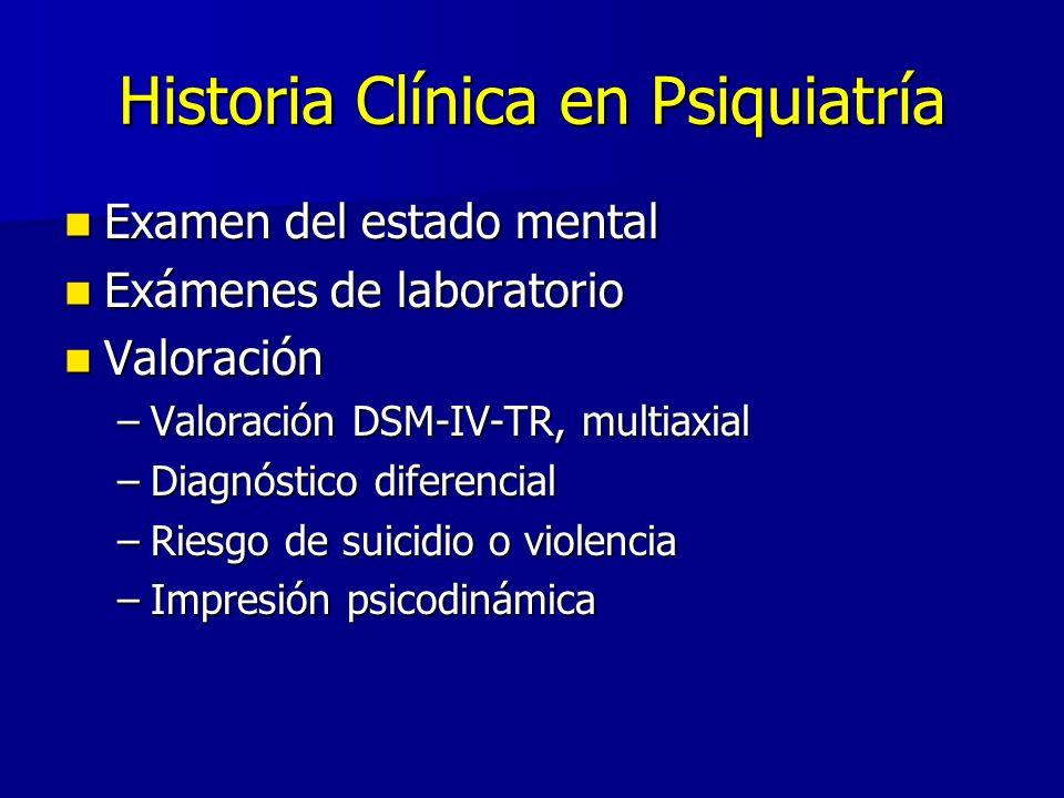 Historia Clínica en Psiquiatría Examen del estado mental Examen del estado mental Exámenes de laboratorio Exámenes de laboratorio Valoración Valoració