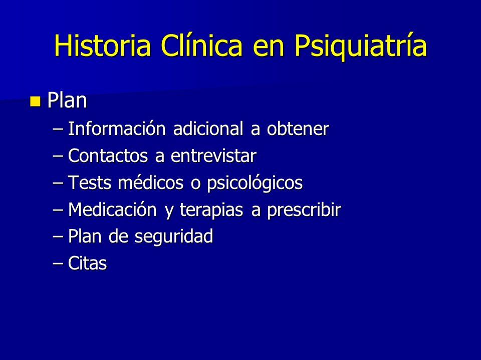Historia Clínica en Psiquiatría Plan Plan –Información adicional a obtener –Contactos a entrevistar –Tests médicos o psicológicos –Medicación y terapi