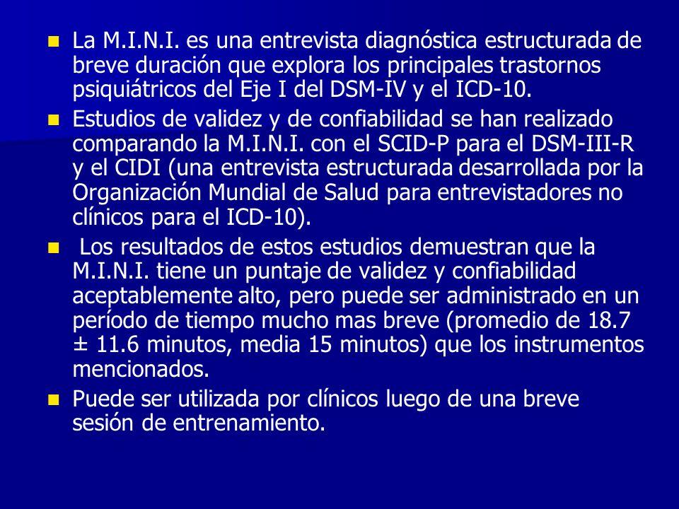 La M.I.N.I. es una entrevista diagnóstica estructurada de breve duración que explora los principales trastornos psiquiátricos del Eje I del DSM-IV y e