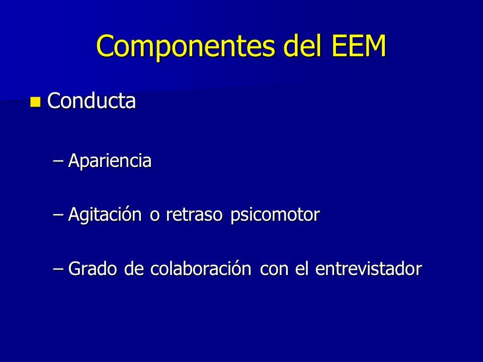 Componentes del EEM Conducta Conducta –Apariencia –Agitación o retraso psicomotor –Grado de colaboración con el entrevistador