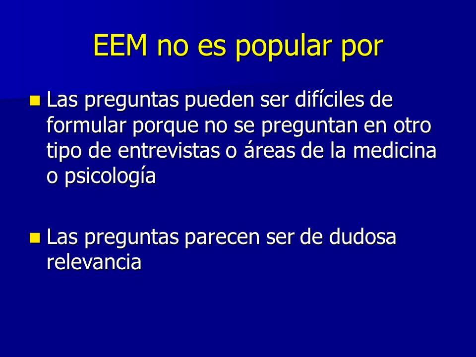 EEM no es popular por Las preguntas pueden ser difíciles de formular porque no se preguntan en otro tipo de entrevistas o áreas de la medicina o psico