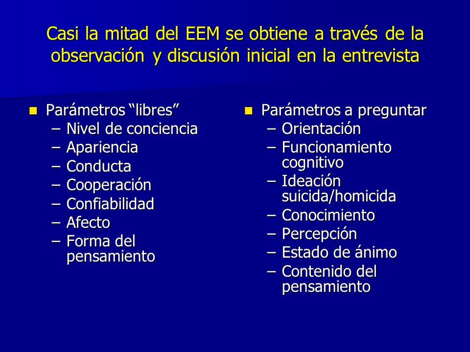 Casi la mitad del EEM se obtiene a través de la observación y discusión inicial en la entrevista Parámetros libres Parámetros libres –Nivel de concien
