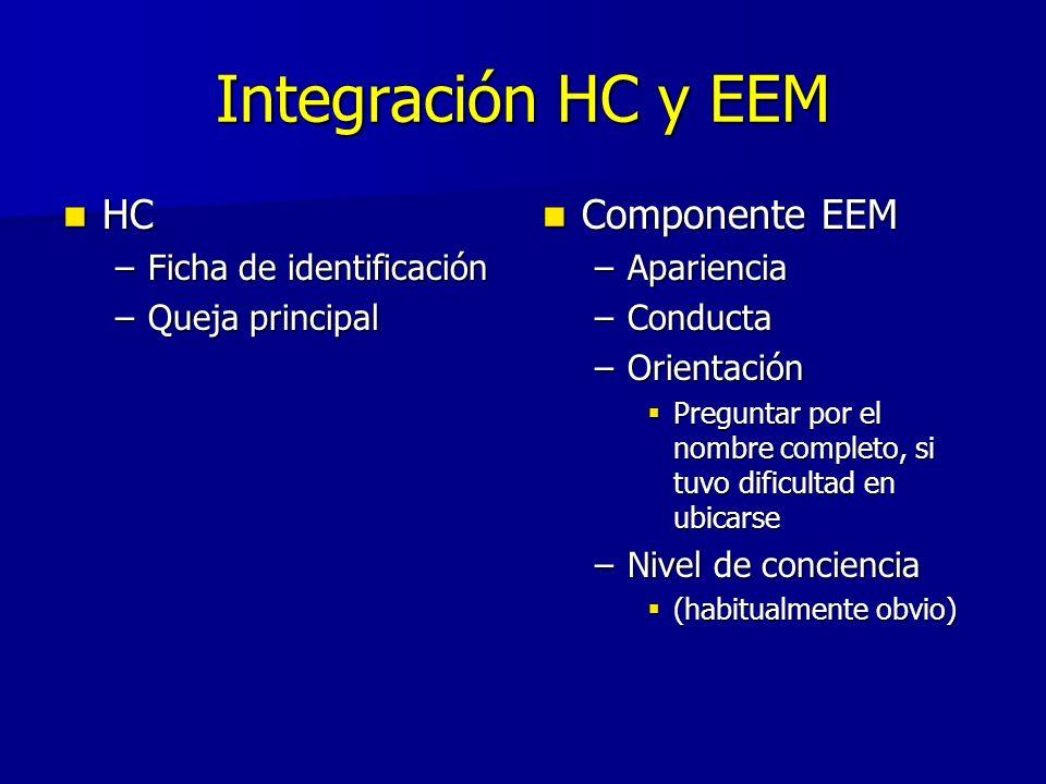 Integración HC y EEM HC HC –Ficha de identificación –Queja principal Componente EEM Componente EEM –Apariencia –Conducta –Orientación Preguntar por el nombre completo, si tuvo dificultad en ubicarse –Nivel de conciencia (habitualmente obvio)