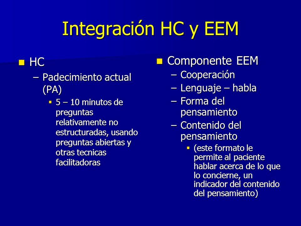 Integración HC y EEM HC HC –Padecimiento actual (PA) 5 – 10 minutos de preguntas relativamente no estructuradas, usando preguntas abiertas y otras tec