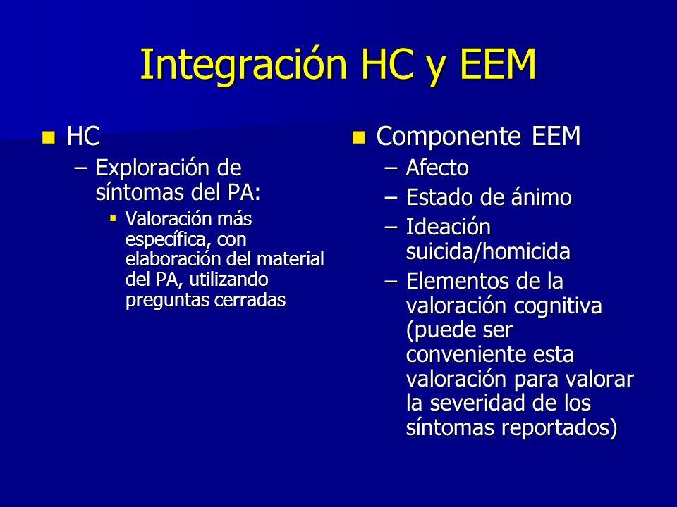 Integración HC y EEM HC HC –Exploración de síntomas del PA: Valoración más específica, con elaboración del material del PA, utilizando preguntas cerra