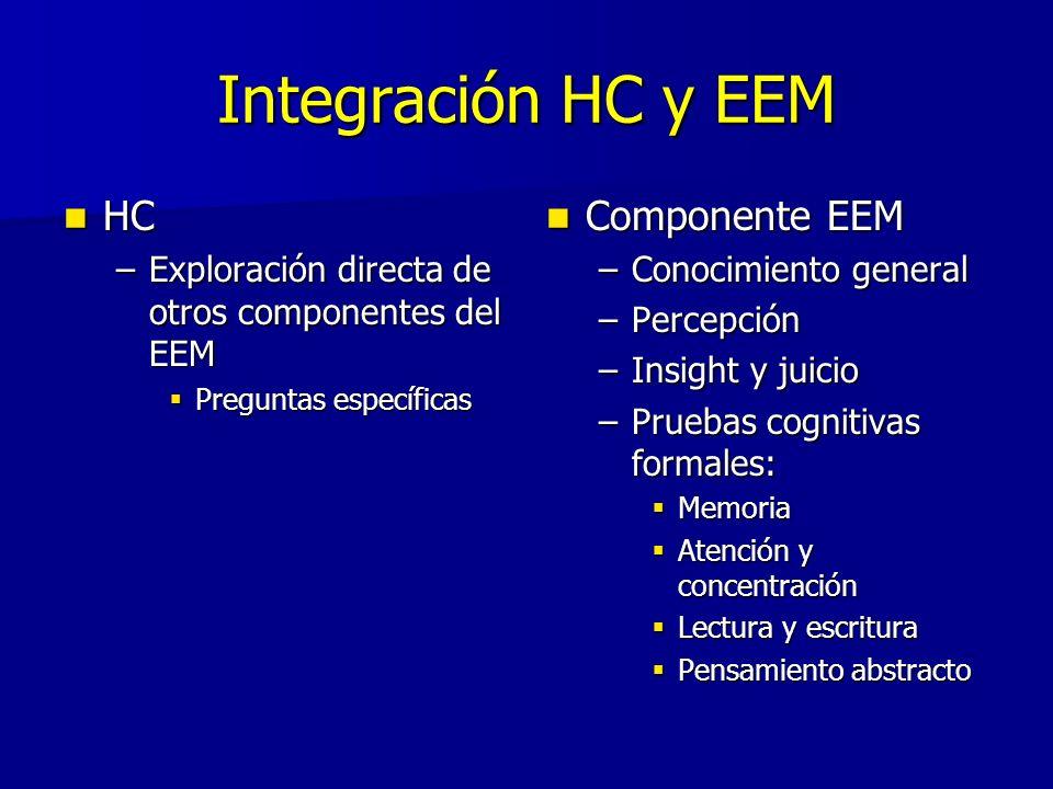 Integración HC y EEM HC HC –Exploración directa de otros componentes del EEM Preguntas específicas Preguntas específicas Componente EEM Componente EEM