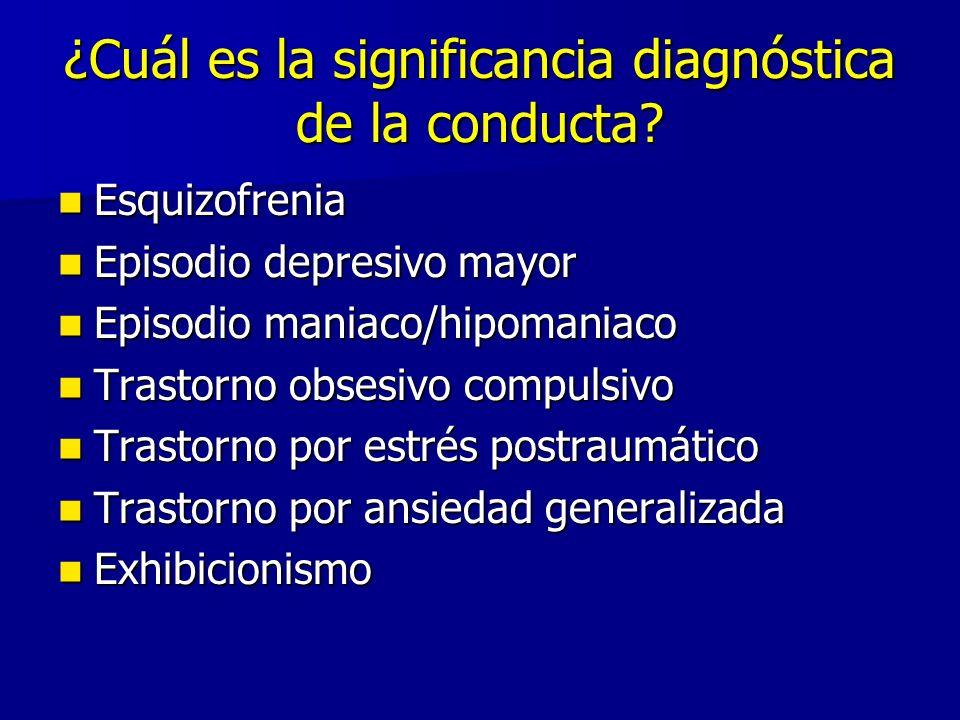 ¿Cuál es la significancia diagnóstica de la conducta? Esquizofrenia Esquizofrenia Episodio depresivo mayor Episodio depresivo mayor Episodio maniaco/h