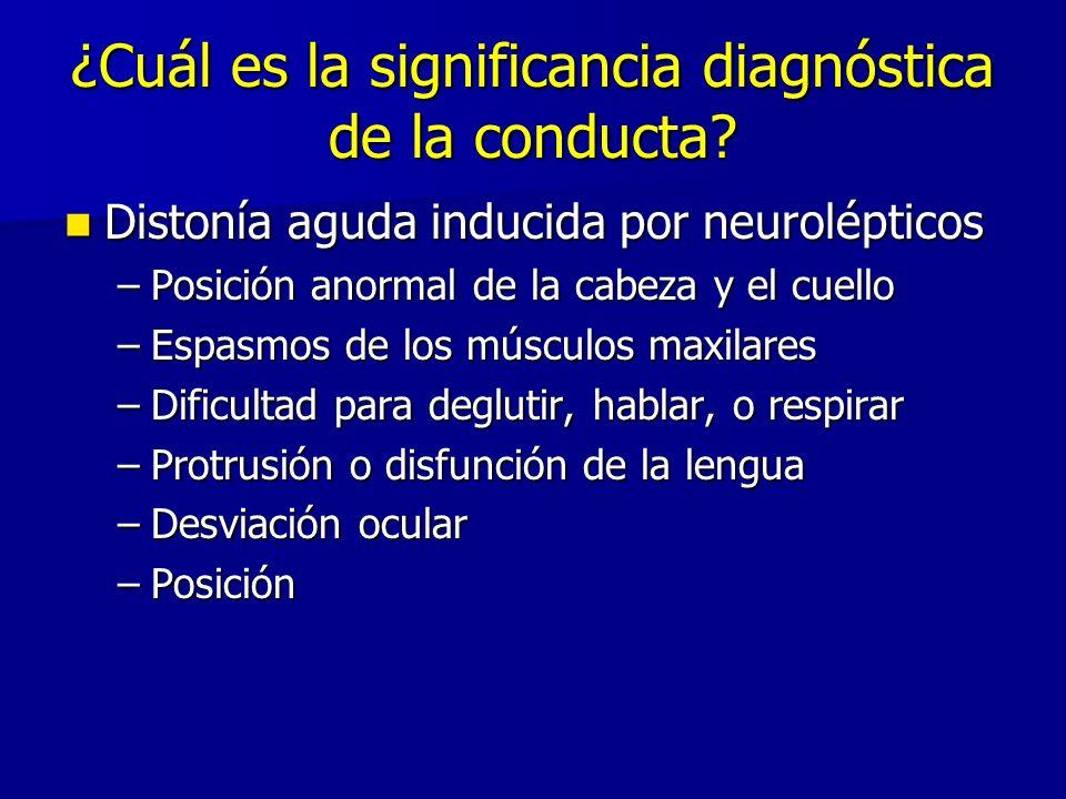 ¿Cuál es la significancia diagnóstica de la conducta? Distonía aguda inducida por neurolépticos Distonía aguda inducida por neurolépticos –Posición an