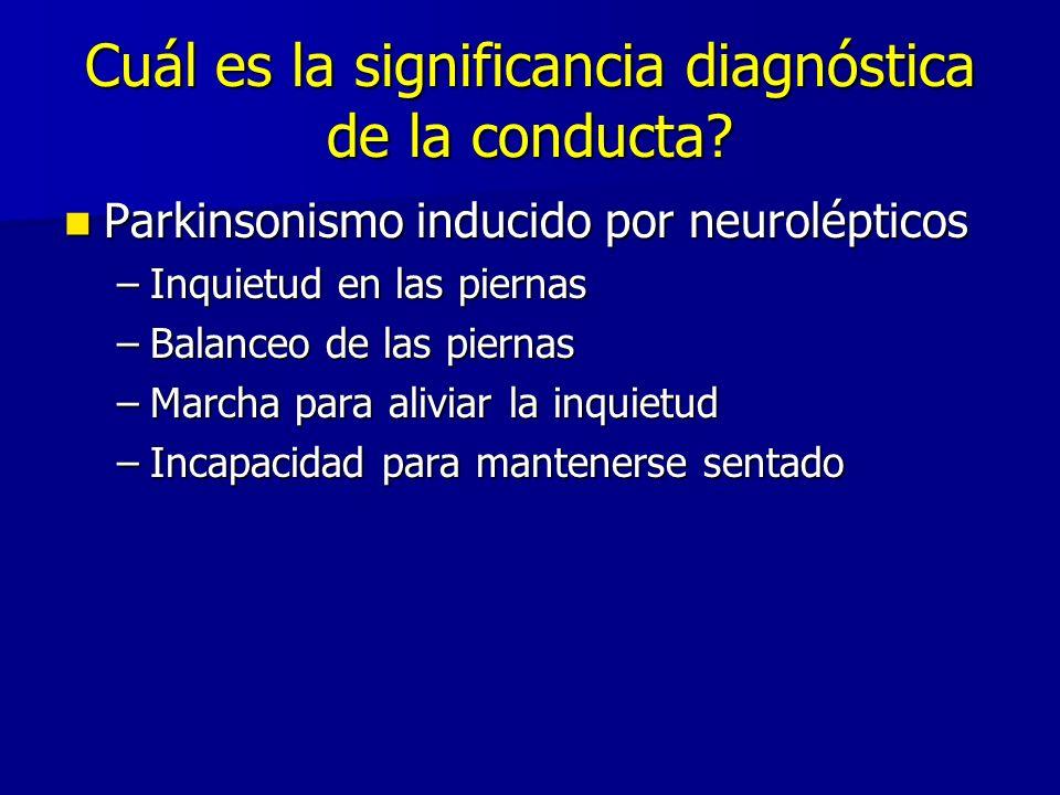 Cuál es la significancia diagnóstica de la conducta? Parkinsonismo inducido por neurolépticos Parkinsonismo inducido por neurolépticos –Inquietud en l