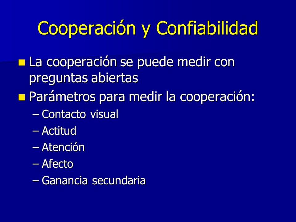 Cooperación y Confiabilidad La cooperación se puede medir con preguntas abiertas La cooperación se puede medir con preguntas abiertas Parámetros para medir la cooperación: Parámetros para medir la cooperación: –Contacto visual –Actitud –Atención –Afecto –Ganancia secundaria