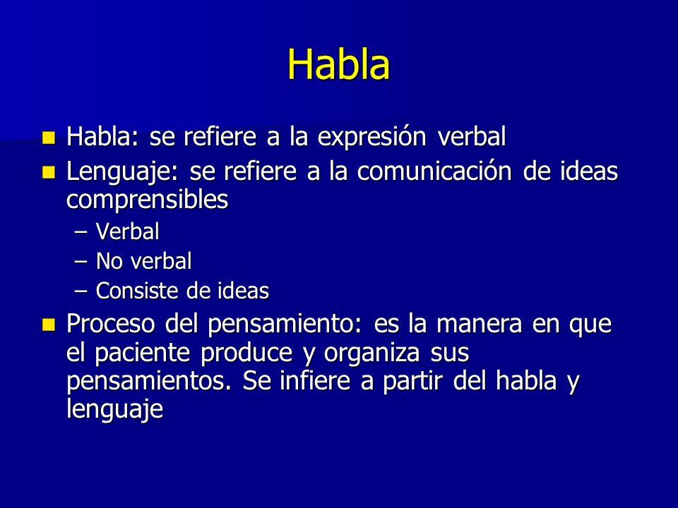 Habla Habla: se refiere a la expresión verbal Habla: se refiere a la expresión verbal Lenguaje: se refiere a la comunicación de ideas comprensibles Le