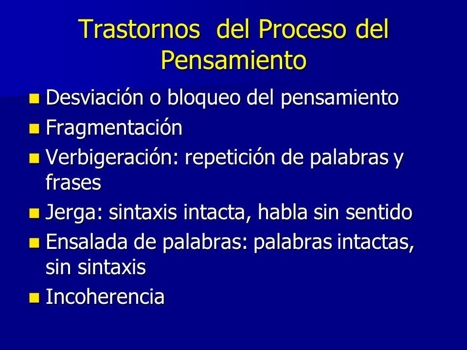 Trastornos del Proceso del Pensamiento Desviación o bloqueo del pensamiento Desviación o bloqueo del pensamiento Fragmentación Fragmentación Verbigera