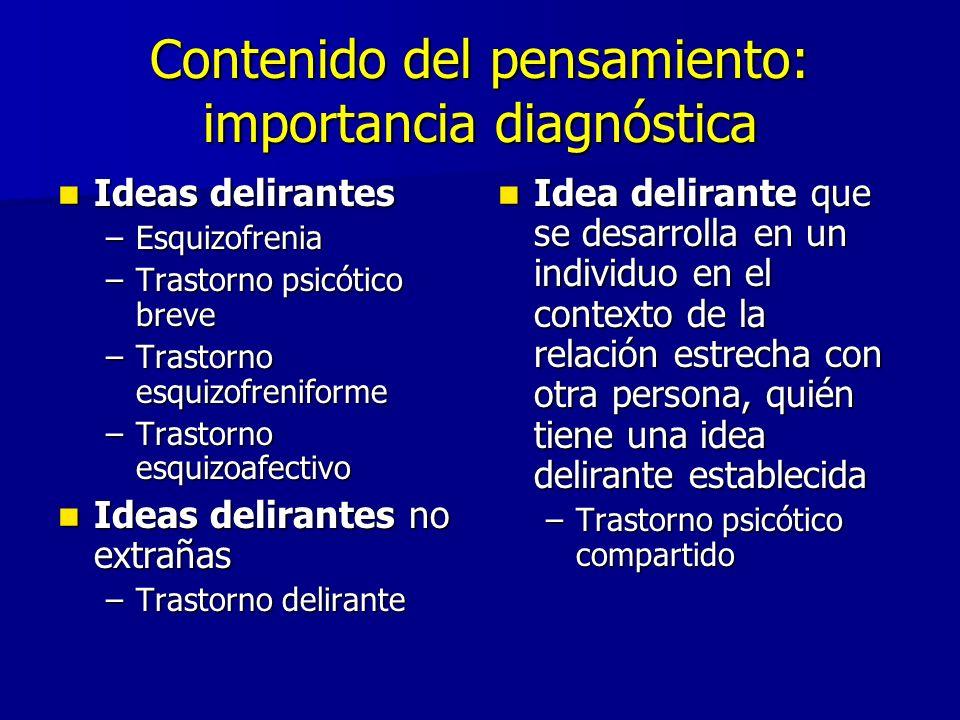 Contenido del pensamiento: importancia diagnóstica Ideas delirantes Ideas delirantes –Esquizofrenia –Trastorno psicótico breve –Trastorno esquizofreni