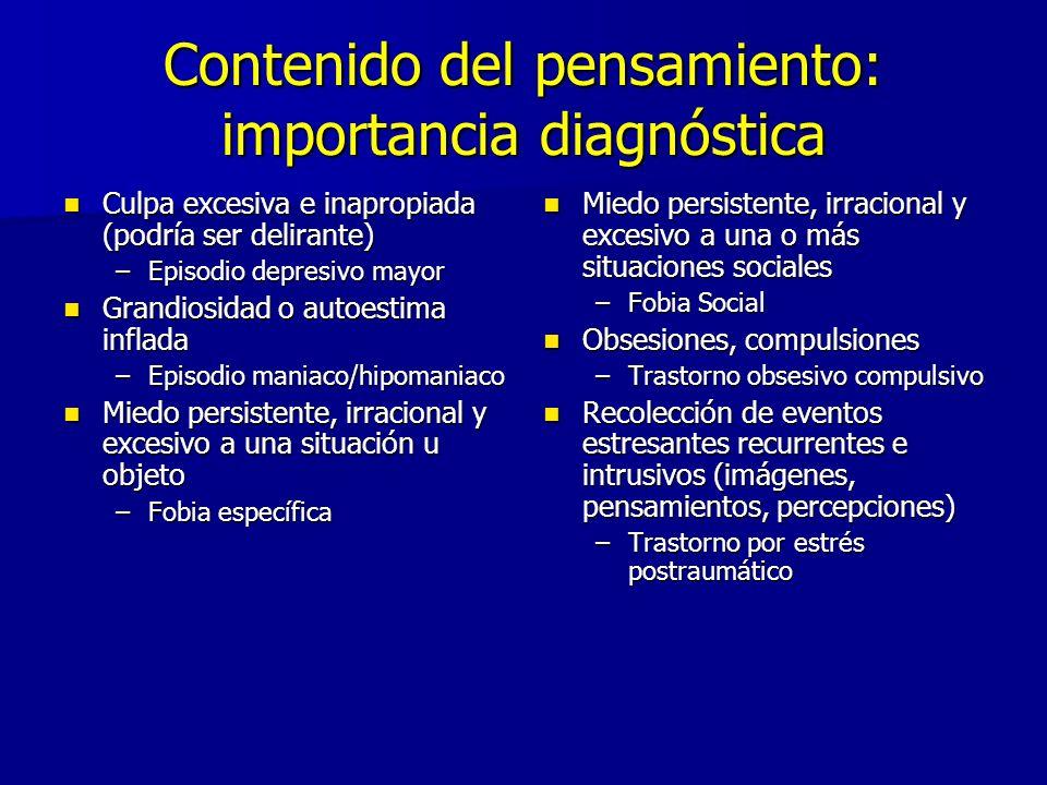 Contenido del pensamiento: importancia diagnóstica Culpa excesiva e inapropiada (podría ser delirante) Culpa excesiva e inapropiada (podría ser delira