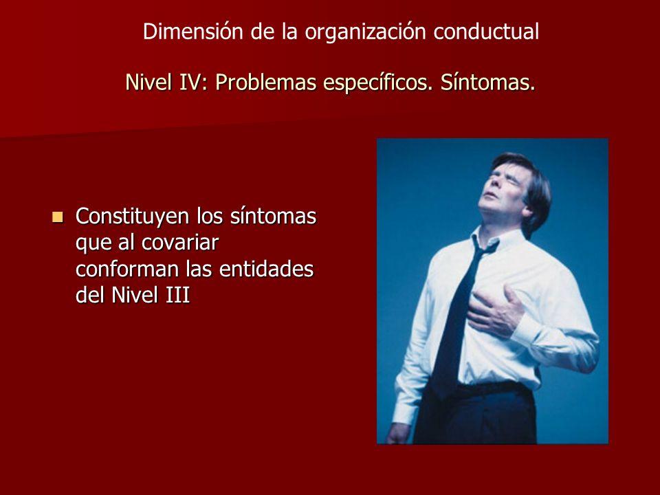 Nivel IV: Problemas específicos. Síntomas. Constituyen los síntomas que al covariar conforman las entidades del Nivel III Constituyen los síntomas que